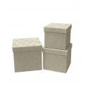 Set of cubic boxes of velvet 3 pieces W7646 Cream
