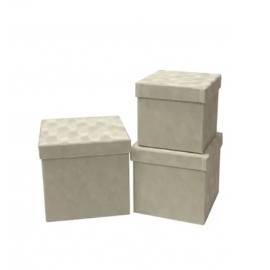 Set of cubic boxes of velvet 3 pieces W7646 Cream