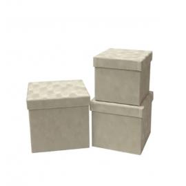Набір кубічних коробок бархат 3 шт W7646 Крем