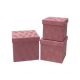 Set of cube boxes velvet 3 pcs W7646 Pink
