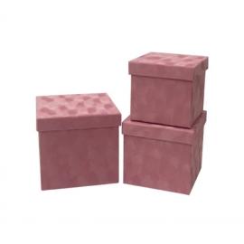 Набір кубічних коробок бархат 3 шт W7646 Рожеві