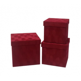 Набір кубічних коробок бархат 3 шт W7646 Червоні