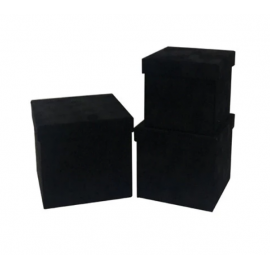 Set of cubic boxes of velvet 3 pcs W7646 Black