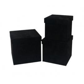 Набір кубічних коробок бархат 3 шт W7646 Чорні
