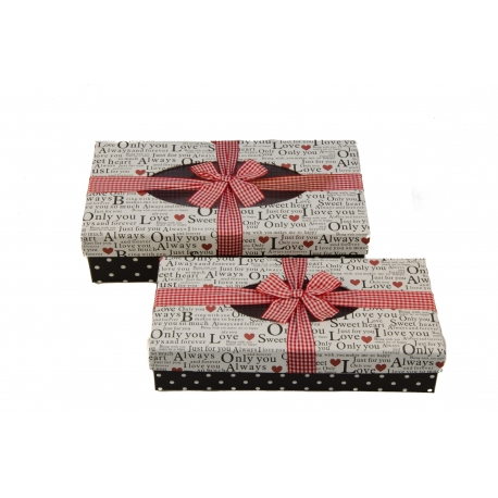A set of cardboard boxes for gifts with 2 pcs 106-1