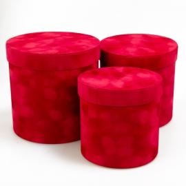 Набір тубусів бархат 3 шт W7226 червоні