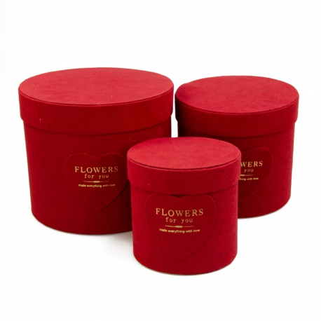 Set of round velvet boxes for flowers from 3 pieces W5128