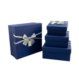 Set of boxes for gifts blue with a satin bow from 4 pieces 070-29