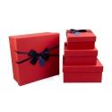 Набор коробок для подарков красные с атласным бантом с 4 шт 070-27