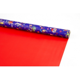 Coated paper bilateral 0,7m * 10 yards New Year's Blue + Red