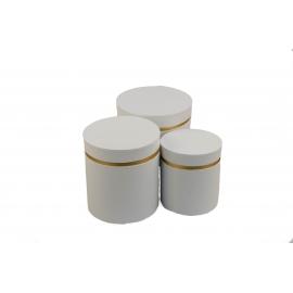 Набір круглих коробок для квітів з 3 шт W3510 Білі