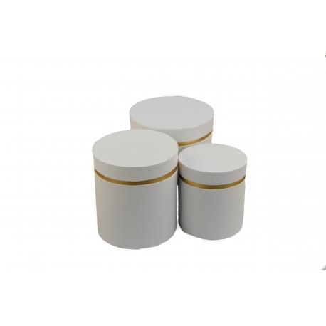 Набор круглых коробок для цветов с 3 шт W3510 Белые