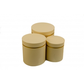 Набір круглих коробок для квітів з 3 шт W3510 Кремові