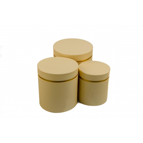 Set of round boxes for flowers with 3 pcs W3510 Cream