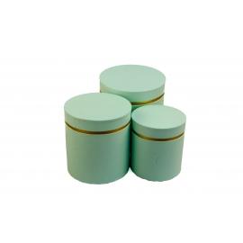 Набір круглих коробок для квітів з 3 шт W3510 Ментол