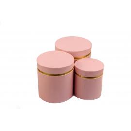 Набір круглих коробок для квітів з 3 шт W3510 Рожеві