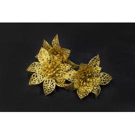 Искусственные головки цветов пуасетия золота
