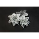 Штучні головки квітів пуансетія срібна