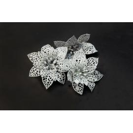 Искусственные головки цветов пуасетия серебряная