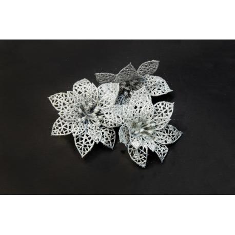 Штучні головки квітів пуасетія срібна