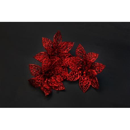 Искусственные головки цветов пуасетия красная