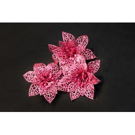 Искусственные головки цветов пуансеттия розовая