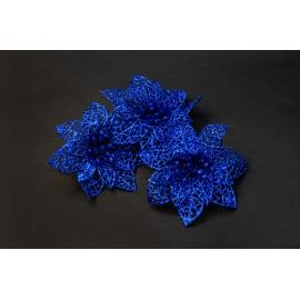 Искусственные головки цветов пуансеттия синяя