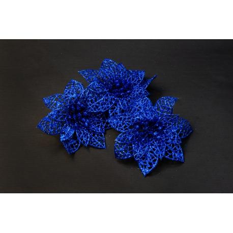 Artificial flower heads poinsettia blue
