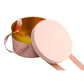 Круглая коробка для для цветов DZXQXBSLH-1 розовая