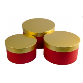 Set of tubes with gold cap, red 3 pcs 144