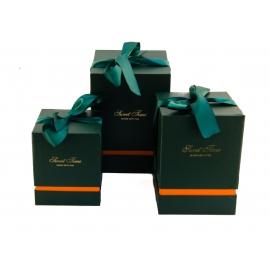 Набір кубічних коробок для подарунків з 3 шт 136 зелені
