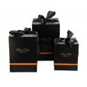 Набір кубічних коробок для подарунків з 3 шт #136 чорні