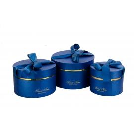 Набір круглих коробок з 3 шт 084-1 сині