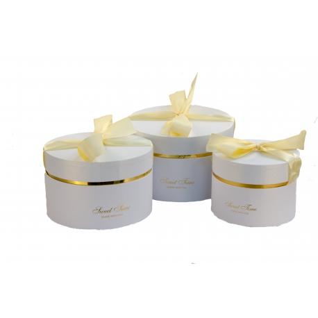 Set of round boxes with 3 pcs 084-1 white