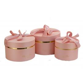 Набір круглих коробок з 3 шт 084-1 рожеві
