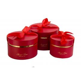 Набір круглих коробок з 3 шт 084-1 червоні