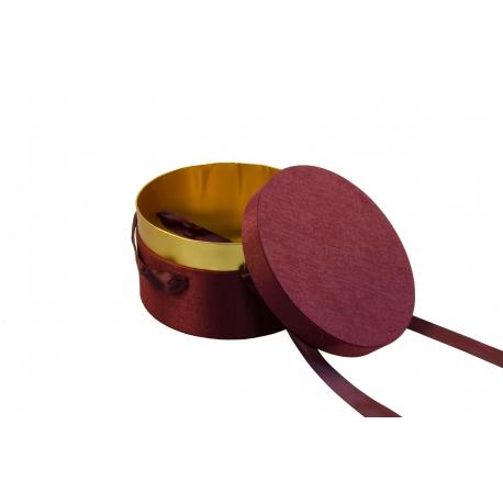 Круглая коробка для для цветов DZXQXBSLH-1 бордо