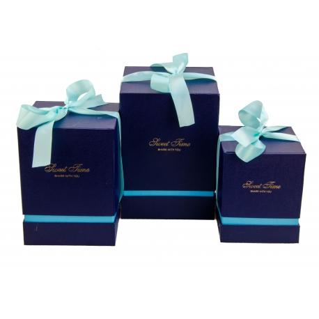 Набір кубічних коробок для подарунків з 3 шт 136 сині