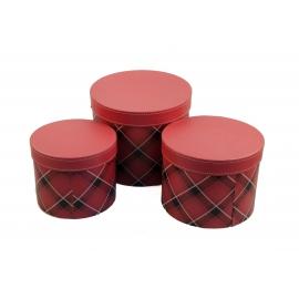 Набор круглых коробок для цветов с 3 шт Шотландка W7675 красные