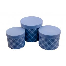 Набор круглых коробок для цветов с 3 шт Шотландка W7675 синие