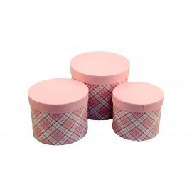 Набір круглих коробок для квітів з 3 шт Шотландка W7675 рожеві