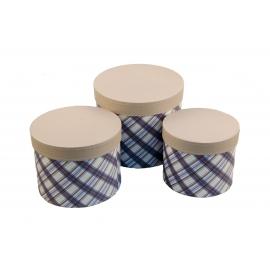 Набір круглих коробок для квітів з 3 шт Шотландка W7675 беж