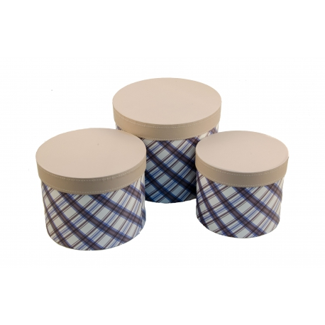 A set of round boxes for flowers with 3 pcs Tartan W7675 beige