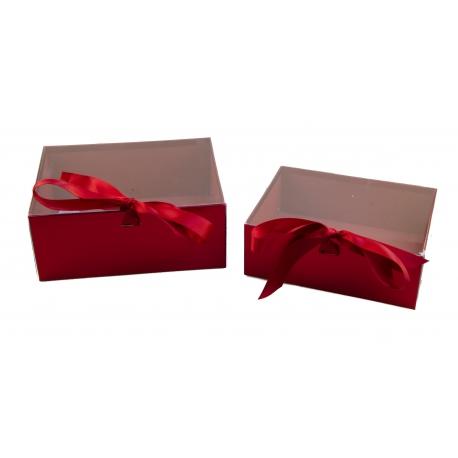 Набір коробок з 2 шт з проз. кришкою W7967 червоні