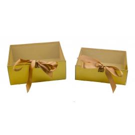 Набор коробок с 2 шт с проз. крышкой W7967 золотые