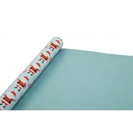 Бумага мелованная двусторонняя новогодняя 0,7 * 10ярд «Санта» на голубом