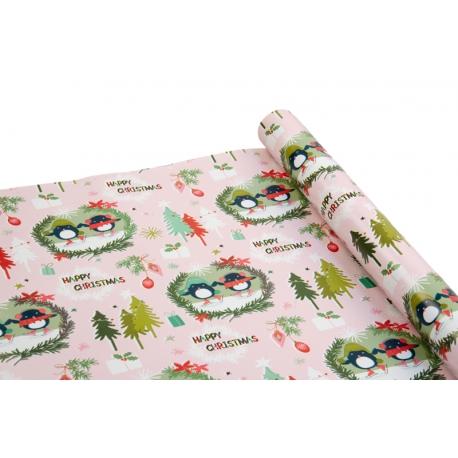 Папір крейдований новорічний 0,7м*10ярд «Пінгвіни» на рожевому