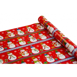 Бумага мелованная новогодняя 0,7 * 10ярд «Снеговик» на красном