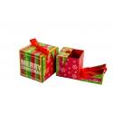 Набір кубічних новорічних коробок для подарунків з 2 шт W7848 червона в полоску