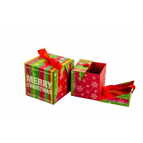 Набір кубічних новорічних коробок для подарунків з 2 шт W7848